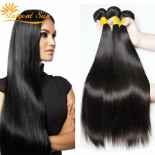 Straight 300g 3 Bundles Unprocessed Virgin Human Hair Weave Extensions Thick UKF