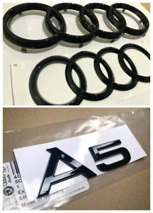 Audi A5 Front Rear Gloss Black Badge RING Emblem Set For Audi A5 Coupe