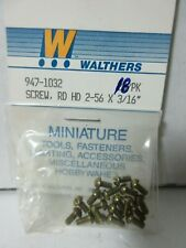 "HO SCALE WALTHERS 947-1032 ROUND HEAD 2-56 X 3/16"" (18 IN PACK) MINIATURE"