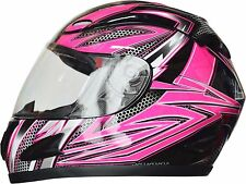 Full Face Motorcycle Helmet Adult Extra Small Pink 5 Tick Approved Full