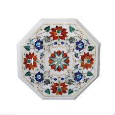 "12"" Marble Coffee/Sofa Table Top Pietra Dura Floral Collectible Furniture Decor"