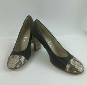 AGL Italy Black Leather Snakeskin Cap Toe Pumps Heels Shoes Size 40 - 10