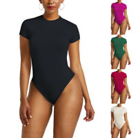 Women Short Sleeve Basic Leotard Tops Bodysuit Jumpsuits Casual T-Shirts Rompers
