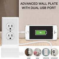 Dual USB Power Wall Charger Plate Snap-On Replacement Electrical Outlet Cover