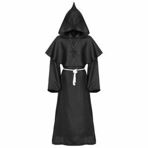 Renaissance Priest Sorcerer Robe Halloween Cosplay Costume Hooded Cape Unisex