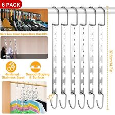 6 Pack Metal Wonder Magic Closet Hanger Organizer Hook Space Saving Clothes Rack