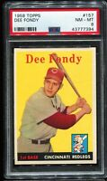 1958 Topps Baseball #157 DEE FONDY Cincinnati Redlegs PSA 8 NM-MT