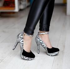 Black US9 Womens Round Toe Ankle Strap Platform Stilettos High Heels Dress Shoes