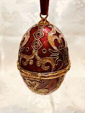 Cloisonne Egg Trinket Box Christmas Ornament Trees Red,Green,Gold 3,5� No Box