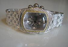 Men's silver finish hip hop Bling bracelet heavy rapper style club fashion watch
