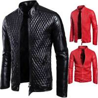 Men's Leather Jacket Large Size Zipper Coat Cool Trendy Youth Outwear Tops S-3XL