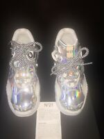 """Nº21 Sneakers Iridescent Leather """"BILLY"""" Size 36 like Gucci Made in Italy  $710"""