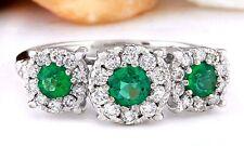 1.70 Carat Natural Emerald 14K Solid White Gold Diamond Ring