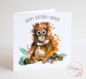 PERSONALISED ORANGUTAN Birthday Card Daughter Granddaughter BROTHER SON