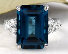 8.85 Carats Natural LONDON BLUE TOPAZ & Diamond 14K Solid White Gold Ring
