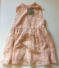 NEXT Girls Pink Sleeveless Floral Dress With Zip Back 3 Years New With Tags