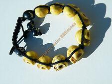 Bracelet Tibetain Shamballa Ajustable 9 Skull Tetes de Mort Jaune Porte Bonheur