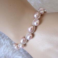 Pearl Bracelet 8 Inches 5-7mm Lavender Rice Freshwater Pearl Bracelet
