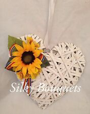 Artificial Silk Flower Rustic Hanging Heart Valentines Gift Sunflower Whitewash