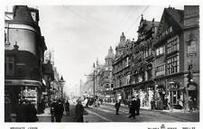 Leeds Briggate (B) sepia RP old postcard used 1908 WR&S Reliable Series