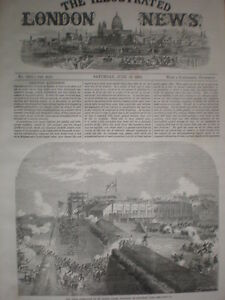 Siege drill St Mary's creek Chatham Kent 1864 old print
