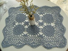 """SALE!!! Vintage HAND Crochet Doily Tray Cloth Place mat - COUNTRY SAGE BLUE 20"""""""