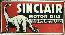 Sinclair Motor Oil TIN SIGN vtg garage ad metal wall decor dino dinosaur 1269