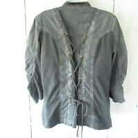 XCVI Jacket L Large Gray Blue Ruched Lace Up 3/4 Sleeve