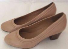 Clarks beige colette dawn women's nude leather heels shoes wide fit UK 6.5 NEW