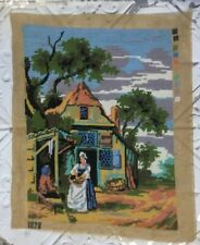 Vtg Completed Tapestry Needlepoint Period Country Cottage By Lane