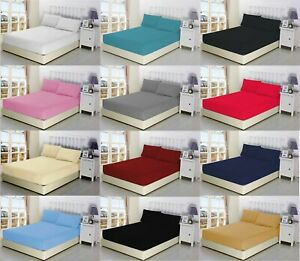 Extra Deep 40cm Poly cotton Fitted Bed Sheets Single 4ft Double King Super King✔