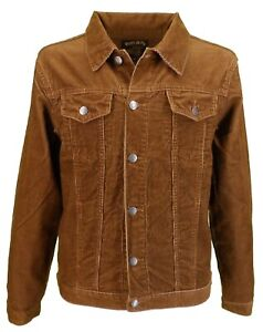 Mens 60s Retro Vintage Tan Cord Western Trucker Jacket …