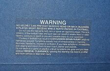 Football Helmet Warning Stickers - White Letters on Clear Sticker - lot of 5