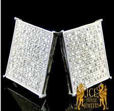 New Men's Flat Screen 15 MM White on White Gold Finish Lab Diamond Stud Earrings