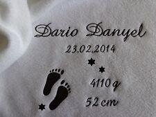 Babydecke mit Namen bestickt Datum,Taufdecke,Geburt,zur Taufe,50 x 70 cm