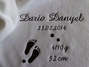 Babydecke mit Namen bestickt Datum,Taufdecke,Geburt,zur Taufe,in zwei Größen
