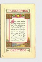 PPC POSTCARD THANKSGIVING GREETINGS POEM TURKEYS GOLD EMBOSSED