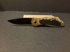 camo folding pocket knife, hunting knife, utility knife, thumb lock & assist