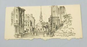 Vintage Summer Street Boston Church Green by Charles Overly Lithography Card