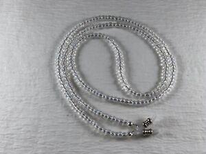 "Extra Long 32"" CLEAR Aurora Borealis BUBBLES 6/0 Seed Bead Eyeglass Chain USA"
