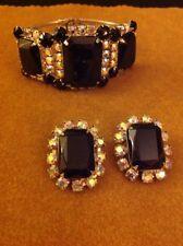 Vintage Estate Black Rhinestone Hinged Clamper Bracelet Clip Earrings Set