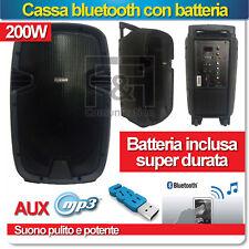 CASSA AUDIO BLUETOOTH PORTATILE 200W BATTERIA 8 ORE USB SMARTPHONE PC BRILLANTE