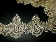 Grano de oro 11cm bordado Venise encaje Vestido para Boda nupcial Baile de graduación recorte neto