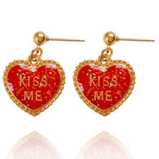 Shiny Kiss Love Dark Red Cute Girl Fashion Drop Dangle Studs Earrings E1337