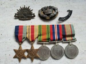 AFRICA STAR GROUP X 5 - TO POW OF GERMANS - 2/5TH BN WOII CAPTURED GREECE