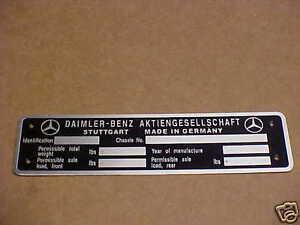 Daimler - Benz Mercedes Data Plate Acid Etched Aluminum Stuttgart G. built cars