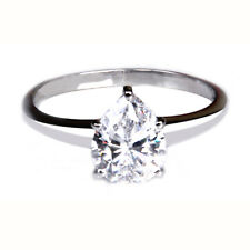 Real 14Kt White Gold 2.00 Carat Brilliant Pear Shape Solitaire Women's Ring
