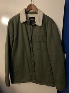 Pull And Bear Mens Jacket Green With Fluff Effect-Large