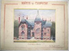 BELLE AQUARELLE D'ARCHITECTE PAVILLON MAISON DE CAMPAGNE À COULOMMIERS 1923
