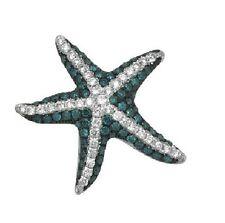 14K WHITE GOLD PAVE BLUE DIAMOND ANIMAL STARFISH STAR FISH PENDANT NECKLACE